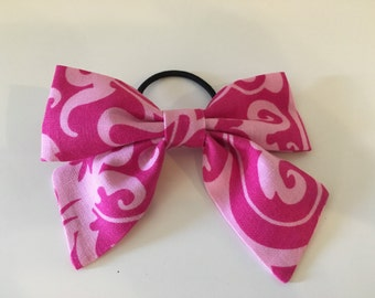Girls Pink Fabric Clip or Ponytail Bow with Variations