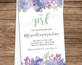 Baby Shower Invite: Lilac and Mint Watercolor Flowers