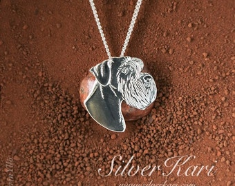 Schnauzer pendant on a chain, all in sterling silver