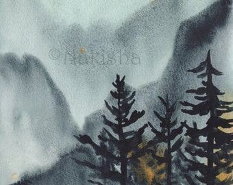 Night Mountain Spirits - Original Watercolor Landscape Painting - Imaginary Landscape