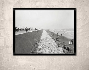 Galveston, Texas, year 1910.Seawall and beach, Galveston TX. Archival Texas print - Old Galveston photography.