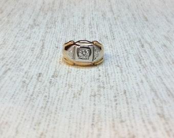 Three stoned two toned mens diamond ring