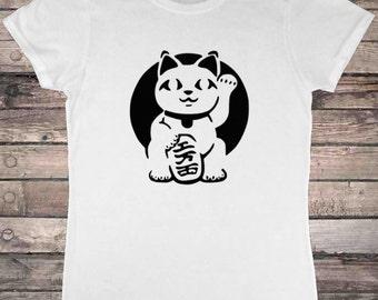 Japanese Lucky Cat Maneki-neko Ladies T-Shirt