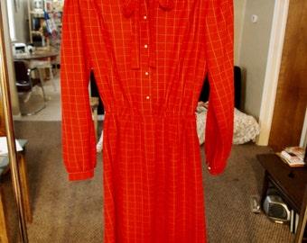 VINTAGE Red Secretary Dress S/M