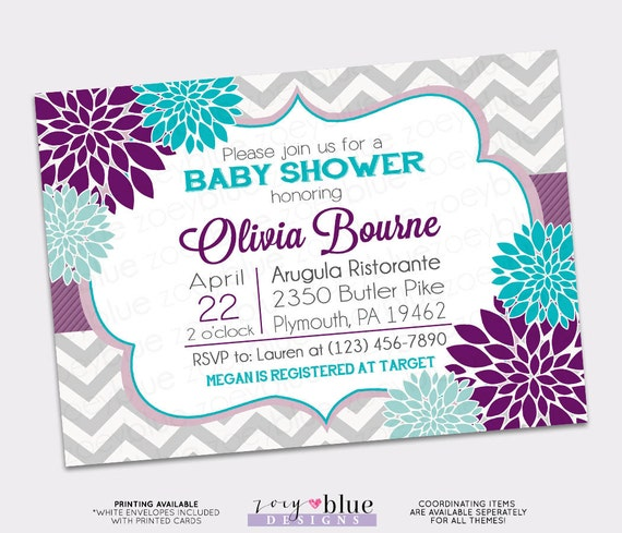 Floral Purple Aqua Blue Baby Shower Invitation Bridal Grey