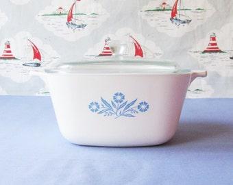 Vintage Pyrosil Ware 2  1/2 pint Casserole Dish With Original Pyrex Glass Lid and Cornflower Motif.