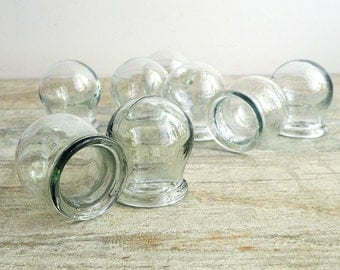 Soviet Vintage Cupping Glass Set of 8 - Soviet vintage medical glass cups - fire cupping therapy - apothecary jars - steampunk decor - USSR
