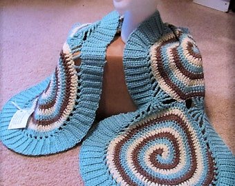 Crocheted Blue, Taupe and Cream Spiraled Shawl