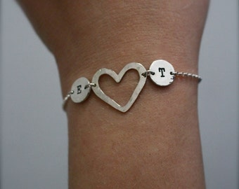 Two initial, sterling silver bracelet. Heart, love bracelet.Custom jewellery.