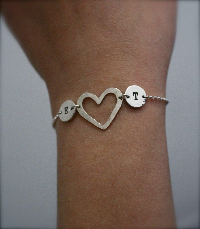 two initial sterling silver bracelet heart love. Black Bedroom Furniture Sets. Home Design Ideas