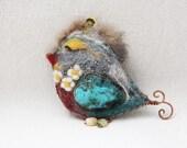 Sleepy bird pin brooch Unique Valentine gift, bright bird fun felt accessory winter trend