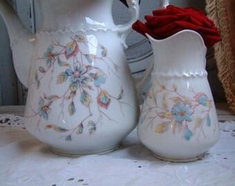 Antique German KPM porcelain coffee pot and creamer. pastel blue flowers. Gustavian decor. French shabby chic decor. Set of 2