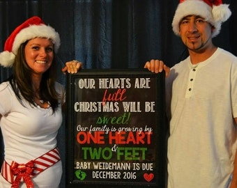 Christmas Pregnancy Announcement Christmas Pregnancy Reveal Xmas Pregnancy Announcement Growing Family One Heart Two Feet