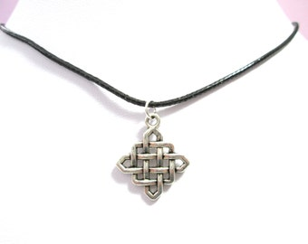 Silver celtic knot black choker charm pendant, celtic knot necklace, choker charm necklace, celtic jewelry, celtic charm,