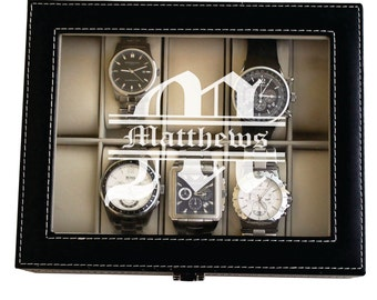 Personalized Watch Case, Mens Watch Box, Watch Box Personalized, Leather Watch Box, Mens Valet Box, Engraved Watch Box Case Storage