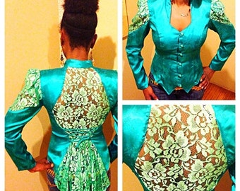 SALE Unique Turquoise Vintage Floral Satin & Sheer Lace Blazer Top