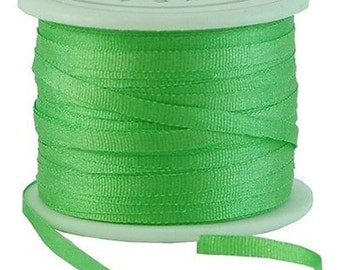 11 Yds (10 M) Embroidery Silk Ribbon 100% Silk 2mm - Kiwi Green - By Threadart