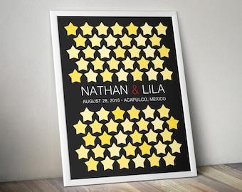 Wedding Guest Book Alternative - Signature Poster - Pastel Stars