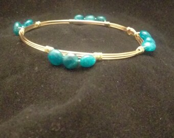 Delicate Apatite Beaded Bangle Bracelet