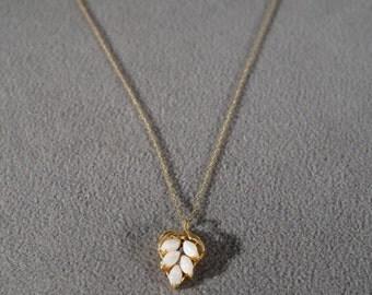 Vintage 14 K  5 Marquise Opal Fancy Grape Cluster Leaf Design 12 K Yellow Gold Filled Necklace Chain   #762    **RL