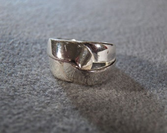 Vintage Sterling Silver Twisted Inter Twined Wide Band Ring, Size 6 Jewelry    **RL