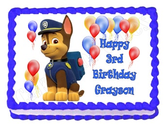 Paw Patrol Chase or Rubble party decoration edible cake image cake topper frosting sheet