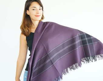 Purple Blanket Scarf  Gift for Women Girlfriend Gift Plaid Scarf Tartan Scarf Winter Accessory Winter accessories Bridesmaids Gift