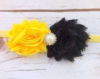 Girls shabby chic headband,  headband,  yellow black shabby chic hair accessories, newborn headband, chiffon headband, photo prop, UK seller