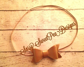 Gold Leather Bow Headband..Christmas Bow..New Year Headband..Newborn, Baby, Girls Photo Prop Bow