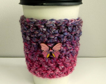 Coffee Cup Sleeve Cozy Take Out Coffee Cup Sleeve Cozy Crocheted Coffee Cup Sleeve Cozy Pink Take Out Cup Sleeve Cozy Pink Coffee Cup Sleeve