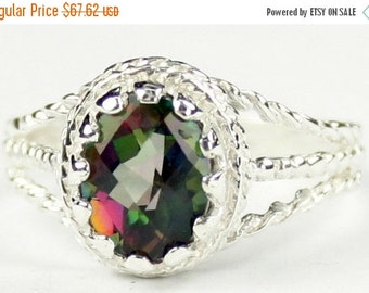 Valentines Sale 30% Off, SR070, 9x7mm Mystic Fire Topaz, 925 Sterling Silver Ring