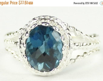 Valentines Sale 30% Off, SR070, 9x7mm London Blue Topaz, 925 Sterling Silver Ring