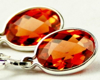 Created Padparadscha Sapphire, 925 Sterling Silver Leverback Earrings, SE001