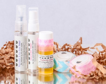 Trial Facial Care Set for All Skin Types: Natural Skincare System Set of Five Facial Care Samples by Teehaus