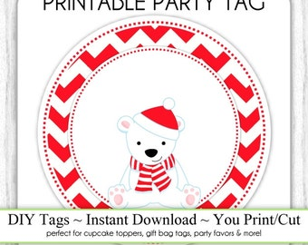 Christmas Printable Tags, Polar Bear Xmas Tags, Christmas DIY Party Tags, You Print, You Cut, INSTANT DOWNLOAD