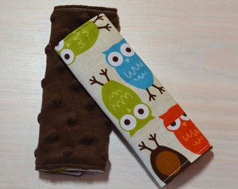 Car Seat Strap Covers - Owls - Blue, Red, Green, Brown