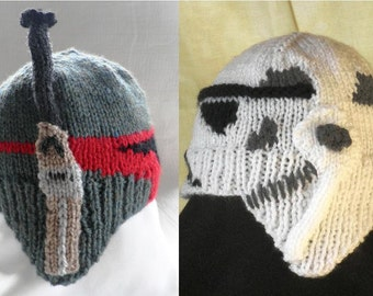 Hand knitted Boba Fett and Stormtooper baby hats for Star Wars fans