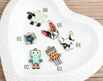 10 pcs of antique gold multicolour animal cat dog sheep and robot charm pendants