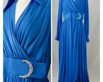 70s Eva Gabor by Estevez Vintage Blue Evening Gown with Rhinestone Belt Buckle Appx Size Medium (1970s)