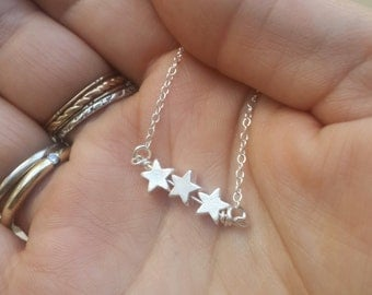 star necklace, silver necklace, star bead, simple necklace, stars, everyday necklace, tiny silver necklace, petite jewelry - D13/S