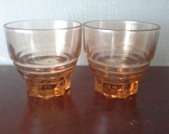 Vintage shot glass - pretty pair of French pink pressed shot glasses from the 1920s / 1930s