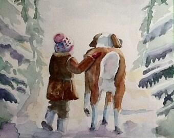 "Original Watercolor Painting, ""Winter Walk"", free shipping North America and UK"