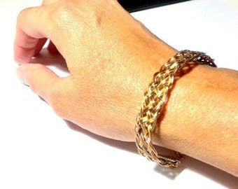Bracelet braided copper, brass and stainless steel