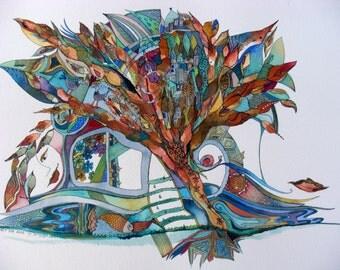 Autumn Smile-Original Watercolors Painting Fall leaves PAINTING,Fine Art,Original,Art & Collectibles,Ooak Painting WATERCOLOUR Aquarelle art