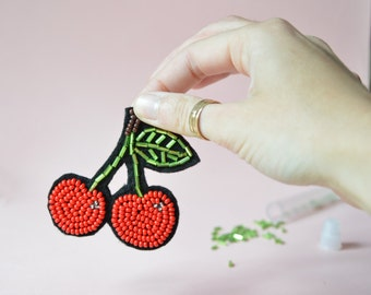 Lovely cherry Brooch, Hand embroidered with red and green seed beads. Red cherry pin.