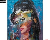 """Sale! Amy Winehouse Modern Portrait  - (90x70cm) 35.4""""x27.6"""" FREE SHIPPING acrylic painting ready to hang, hand painting by Carlos Pun"""