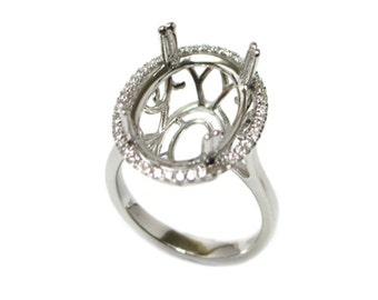 16x12mm Oval Halo Diamond Ring Semi Mount in 14K White Gold (9325)*