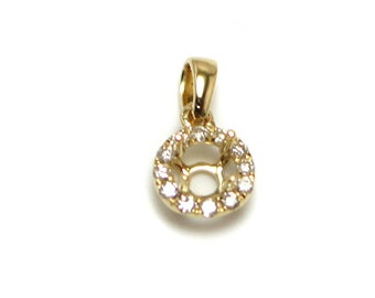 4mm Round Semi Mount Pendant in 14k Yellow Gold with White Diamond Halo (20193)*