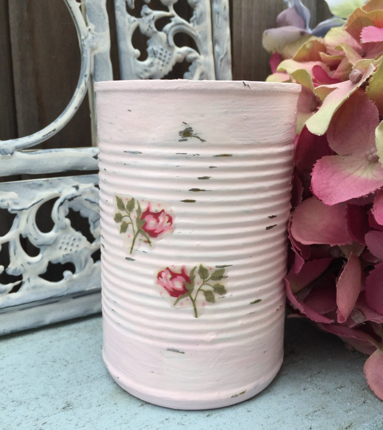 Pink Shabby Chic Painted Decoupage Roses Tin Can Vase Table Centerpieces  Bridal Wedding Home Dorm Nursery Decorations Decor Gift IN STOCK - Pink Shabby Chic Painted Decoupage Roses Tin Can Vase Table