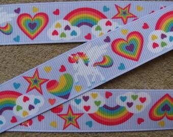"""3 yards color hearts My Little Pony Printed Ribbon 7/8"""" Rainbow Pony Ribbon Unicorn ribbon"""